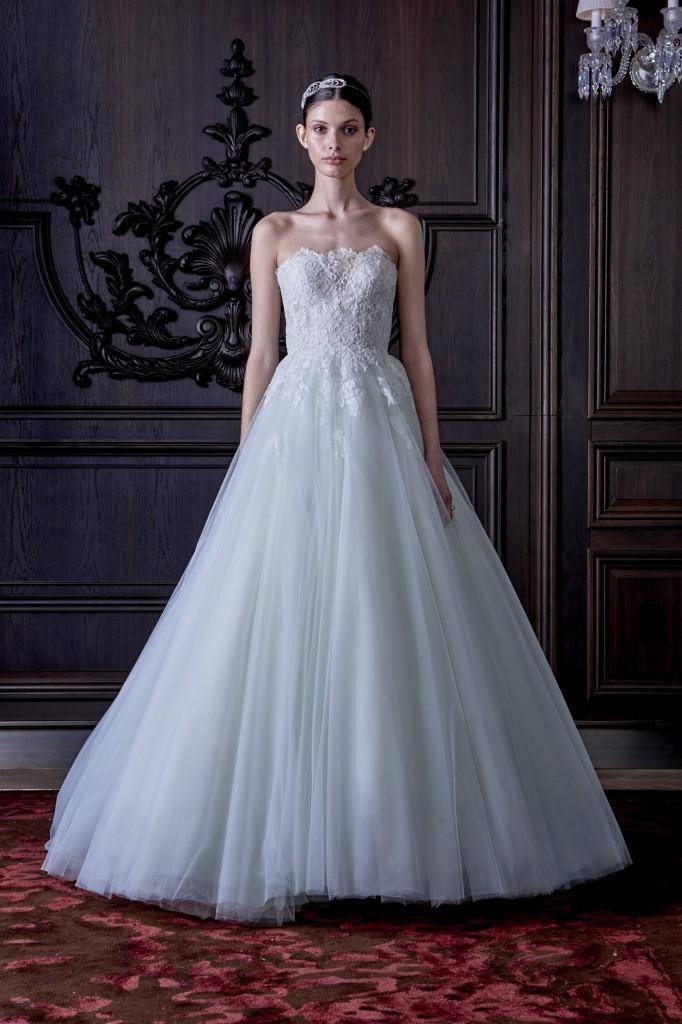 monique l'huillier wedding dress blue