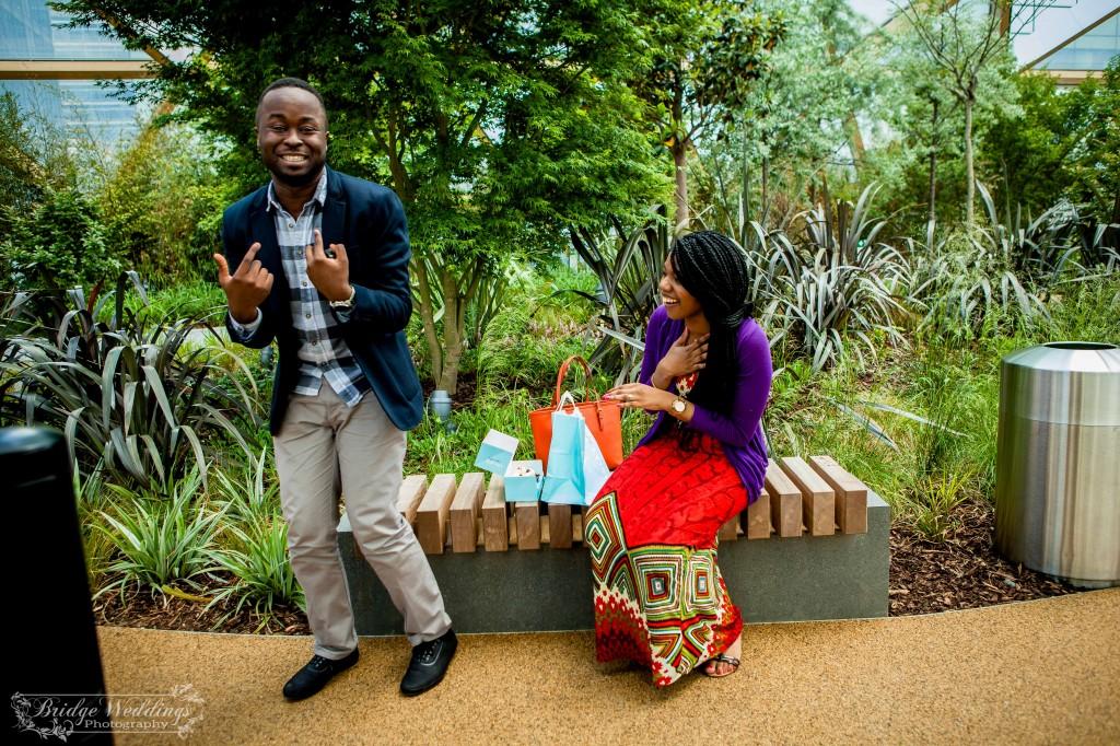London Wedding Photographer - Wedding Proposal - BridgeWeddings - Canary Wharf Crossrail Place - Chioma and Isaac (19)