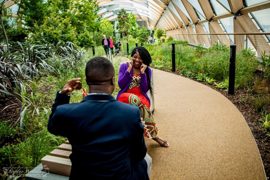London Wedding Photographer - Wedding Proposal - BridgeWeddings - Canary Wharf Crossrail Place - Chioma and Isaac (8)